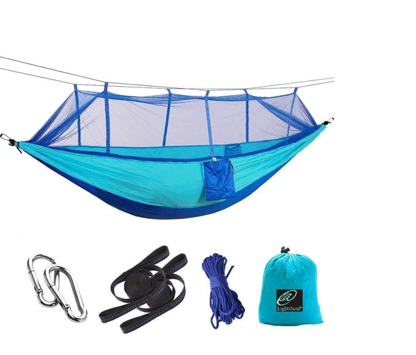 Lightahead Parachute Portable Camping Hammock with Removable Mosquito Net,Straps,Carabiner,Rope-Blue