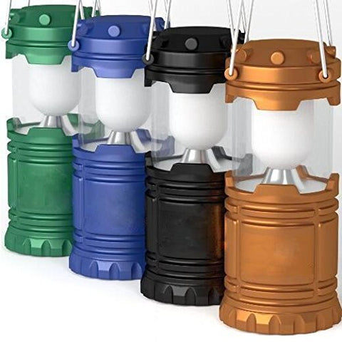 Lightahead Portable Outdoor LED Camping Lantern, set of 4 colors, Collapsible (with Battery)
