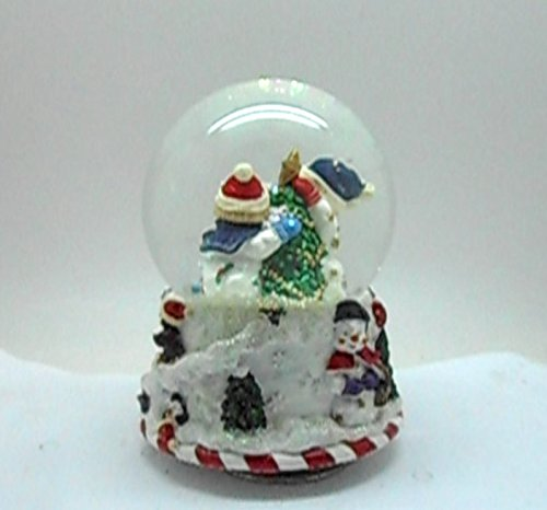 Lightahead Musical Christmas Snowman 100MM Polyresin Snow Globe with falling Snowflakes & music