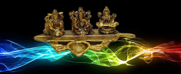 Lightahead Lord Ganesh,Goddess Lakshmi & Saraswati a Unique Diya Tea Light Candle Stand in Yellow Metal Statue of Hindu Gods on a Feather Made in India