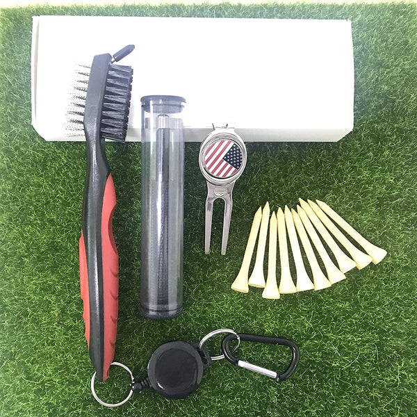 5 in 1 Golf Club Groove Cleaner Brush Set with Groove Sharpener Divot Repair Ball Marker Wooden Tees