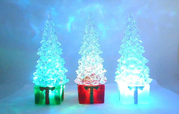 Lightahead Christmas Tree, 15CM High with square base and color changing LED Lights, Ornaments Table Decoration Light Christmas Gift Night Light (Set of 3)