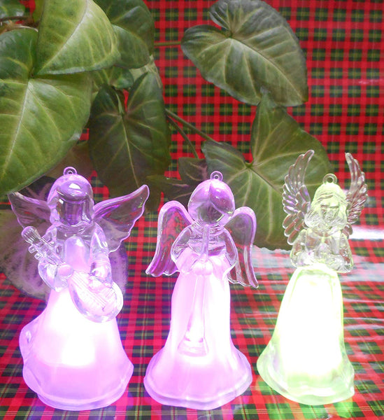 Lightahead Angel Ornaments,12CM High Color Changing LED Lights, Table Decoration Light Christmas Gift Night Light (Set of 3)