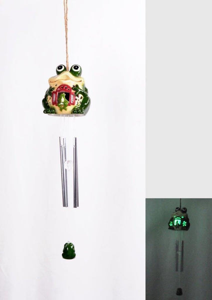 Lightahead Frog Windbell Light Solar Powered Frog Color Changing LED Wind Chime (Green)