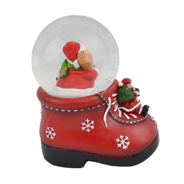 Lightahead Decorative Shoe shaped Snowman water Snow globe 100 mm in Poly resin