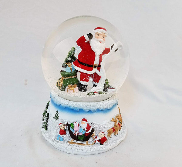 Lightahead Musical Christmas Santa Checking his List Water Snow Globe with music 100 MM in Polyresin