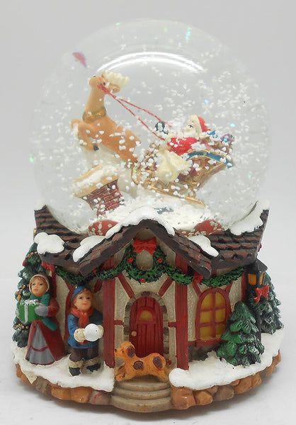 Lightahead PolyResin 80MM Musical Water Snow Globe Playing a Tune & Rotating for Christmas (Santa on Sledge)