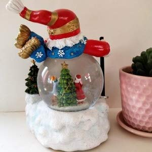 Lightahead Christmas Santa Snow Globe Water ball LED light, flying snow with 8 melodies 100 MM Poly resin