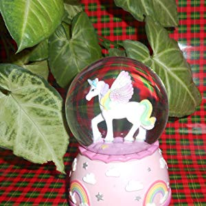 Lightahead Pink Unicorn Musical 80MM Polysin Snow Globe with falling Snowflakes & music