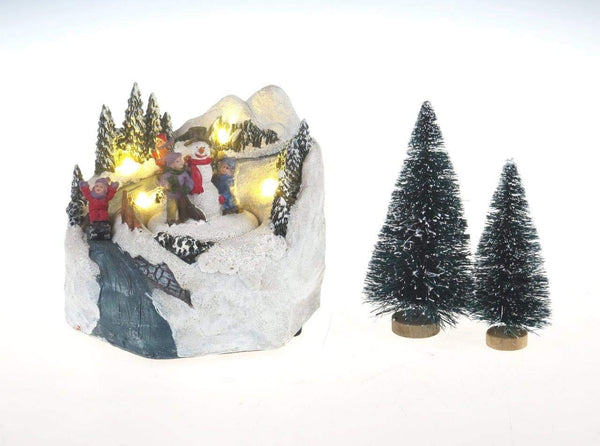 Lightahead Sliding Down A Musical Christmas Scene with Snowman and Children Figurine, LED lights and 8 Melodies