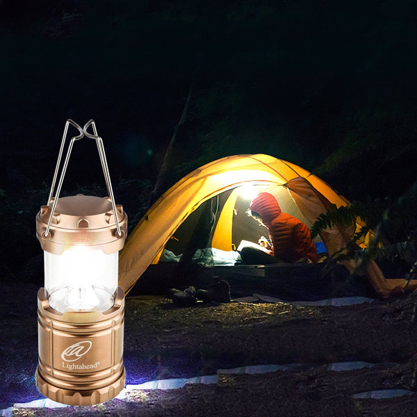 Lightahead Portable Outdoor Led Camping Lantern Equipment with Battery-Great for Emergency(Brown)