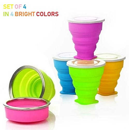 Lightahead®4 Pack Unbreakable Collapsible Portable Travel Cup glass with Lid, Silicone Foldable Mug