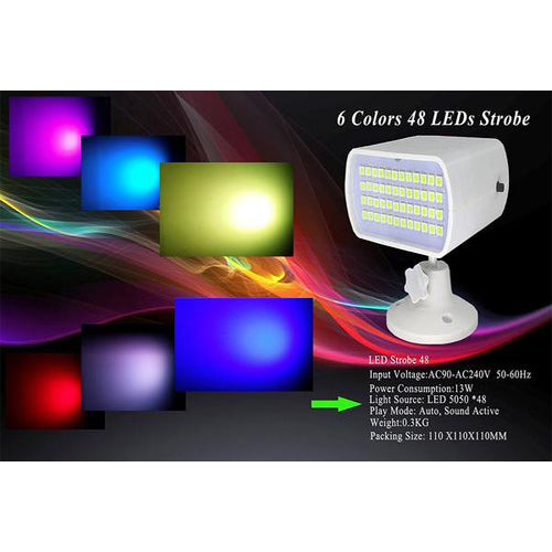 Lightahead Auto, Sound Activated 6 Colors Strobe Light with 48 LEDs Flash Rate Adjustable Disco DJ