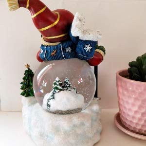 Lightahead Christmas Snowman Snow Globe Water ball LED light, flying snow with 8 melodies 100 MM in Poly resin