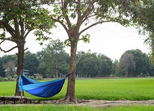 Lightahead Double Parachute Portable Camping Hammock Including 2 Straps with Loops & Carabiners-Blue