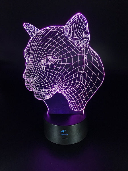 Lightahead 3D Optical Illusion Touch Night Light LED Desk Lamp,7 changing Colors,USB Powered-Leopard