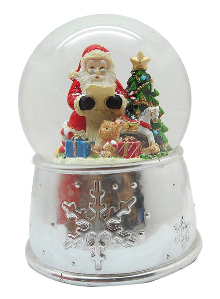 Lightahead Musical Christmas Santa checking his list in 100MM Polyresin Snow Globe with falling Snowflakes & music