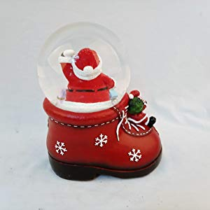 Lightahead Decorative Christmas Santa Water Snow Globe Shoe Shaped 100 MM Poly resin