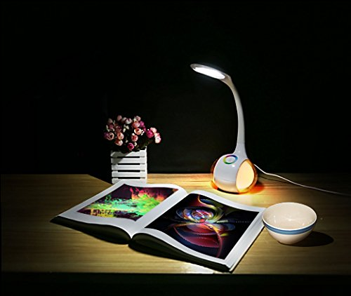 Lightahead LED Desk and Mood Lamp with 3 Level Dimmable Touch Control Flexible Neck and Base (White)