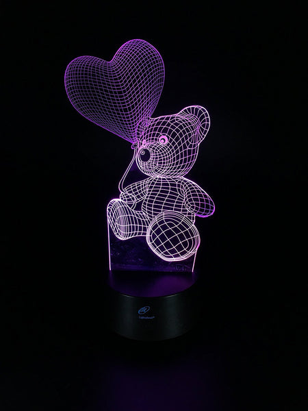 Lightahead Amazing 3D Optical Illusion Touch LED Night Light 7 changing Colors (Love Bear 2)