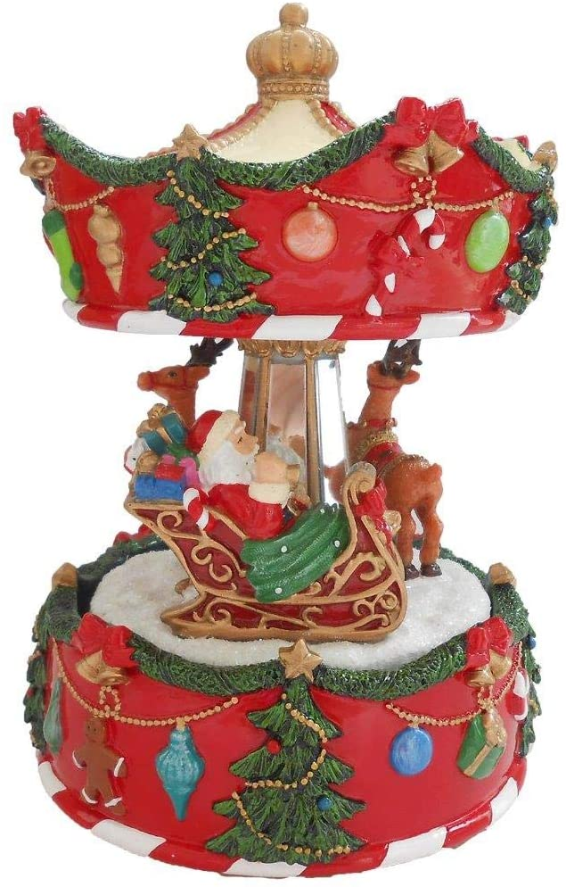 Lightahead 6 inch Santa on Sledge with Reindeer Musical Revolving Carousel Figurine Christmas Music Box in Polyresin