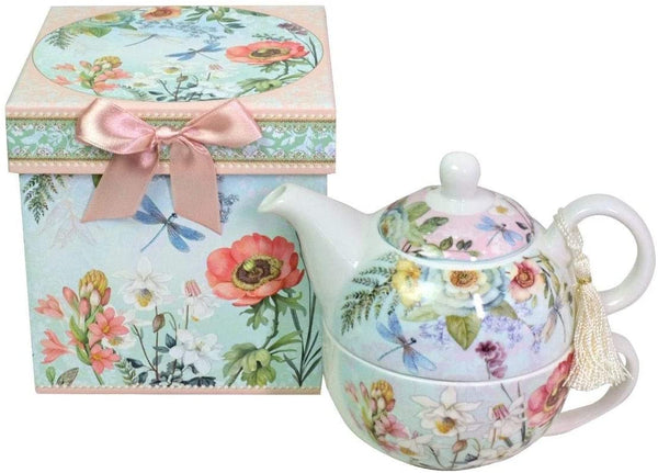 Lightahead Bone China Tea for One Set in Floral Design, in attractive Reusable Handmade Gift Box (With Bead & Ribbon)