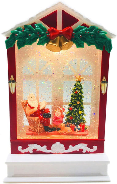 Lightahead Christmas Musical Light up Swirling Glitter House with Santa Reading Story to Children Inside Figurine, Warm White LED Light and 8 Melodies