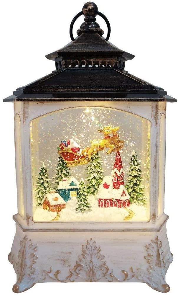 Lightahead Christmas House Light Lamp with Santa on Sleigh Figurine Inside, Musical Swirling Glitter Warm White LED Light and 8 Melodies