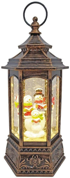 Lightahead Christmas Lantern with Snowman Family Inside Figurine, Musical Swirling Glitter Warm White LED Light and 8 Melodies Christmas Decorations