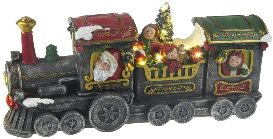 Lightahead Musical Christmas LED Lighted Santa in Locomotive Train Engine with Children Scene Musical Decoration with 8 melodies Tabletop Centerpieces