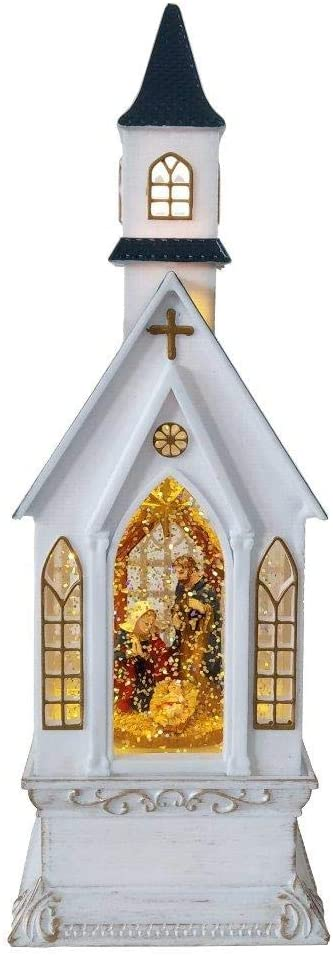 Lightahead Christmas Church Light Lamp with Nativity Scene Inside,Musical Swirling Glitter Warm White LED Light,8 Melodies Home Christmas Decorations