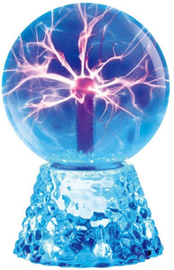 "Lightahead 8"" Crystal Plasma Ball Lamp Blue Color Globe Design with Transparent Base Touch Sound Sensitive"