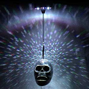 Lightahead Battery Operated Mirror Skull Disco Light with Sound Sensor for Halloween Decorations