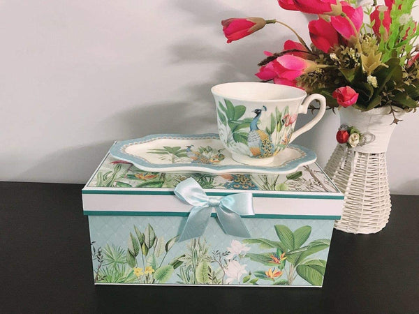 Lightahead New Bone China Unique Tea Cup 8.5 oz, Royal Saucer Set Peacock in Rain forest design, PACKED in a Reusable Handmade Gift Box with Ribbon