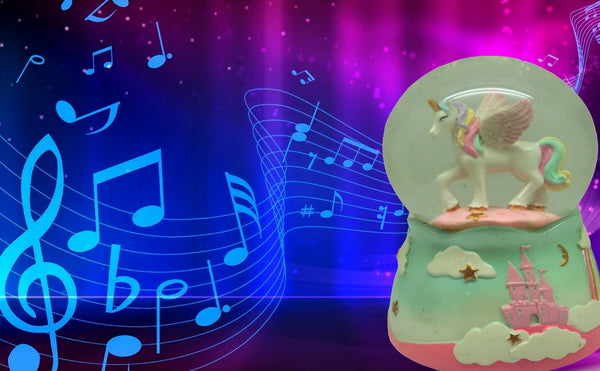 Lightahead 80 MM Musical Revolving Water Unicorn Snow Globe Birthday