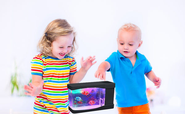Lightahead Artificial Mini Aquarium Fish Tank Multi Color LED Swimming Fish Tank with Bubbles
