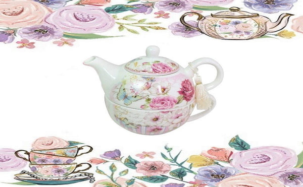 Lightahead Bone China Tea for One Set in Rose Design, in attractive Reusable Handmade Gift Box (With Bead & Ribbon)