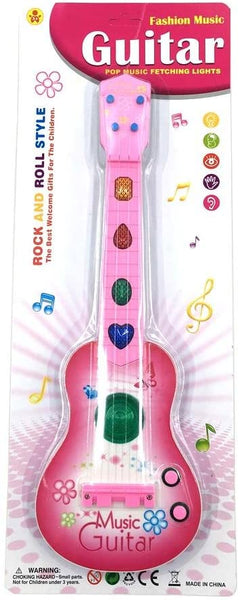Lightahead Set of 2 Electric Guitar Rock and Roll Toy Guitar with Preset Music & Vibrant Sounds (ROSE PINK)