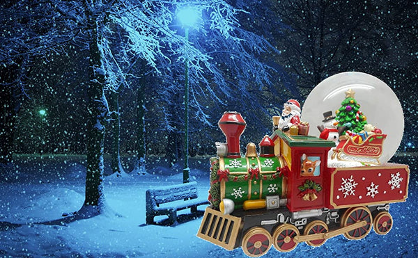 Lightahead Musical Christmas Santa Driving The Train Figurine with Snowman Gifts Christmas Tree Inside Falling Snow Water Ball Snow Globe in Polyresin