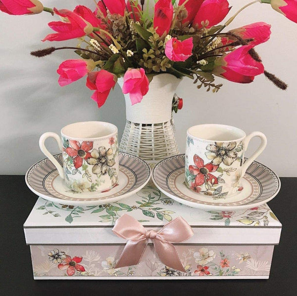 Lightahead Elegant Bone China Set of 2 Espresso Coffee Cups and Saucer Floral Design 3.4 oz in attractive gift box