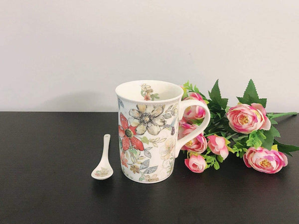 Lightahead Elegant Bone China Mug, Coaster and Spoon Set Floral Design 11.2 oz in attractive gift box
