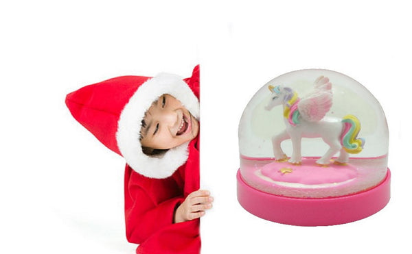 Lightahead Mini Water Globe with Cute Unicorn Inside and Pink Base,Table Top Decorations Christmas, Valentine Gifts