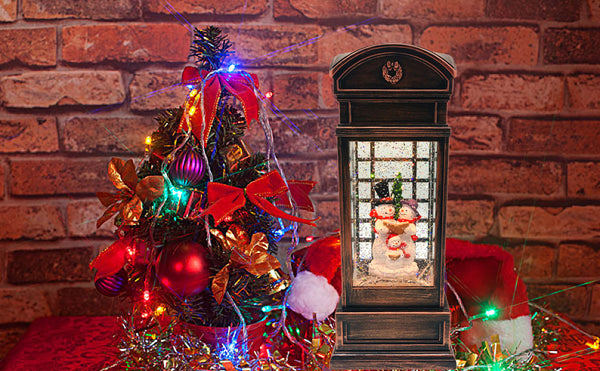 Lightahead Musical Light up Swirling Glitter Telephone Booth with Snowman Family Inside Figurine, Warm White LED Light and 8 Melodies