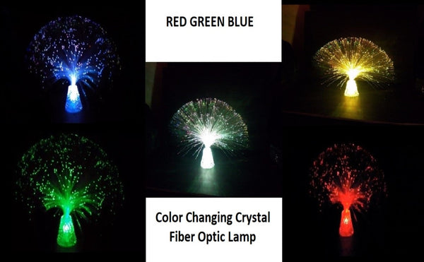 Lightahead LED RGB Color Changing Crystal Fiber Optic Lamp with Cone Base with Clear Crystals for Wedding Christmas Party Holiday