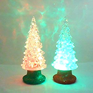 Lightahead Christmas Tree, 15CM High with round base and color changing LED Lights, Table Decoration Light Christmas Ornament Gift Night Light (Set of 2)