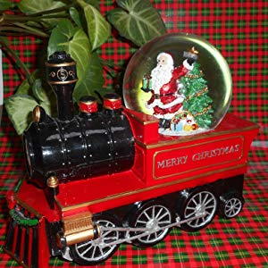 Lightahead Musical Christmas Santa in Train Engine Figurine in 100MM Water Ball Snow Globe in Poly resin