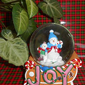Lightahead JOY A Musical Christmas Snowman Gingerbread 100mm Snow Globe with falling Snowflakes & music
