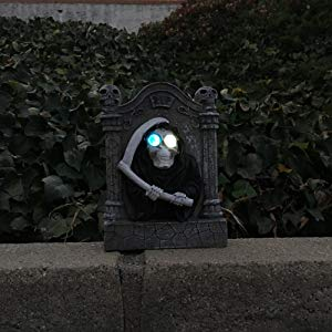 Lightahead Solar Powered Halloween Decoration Light, Tombstone Ghost, Outdoor Garden Light, Multi-Color Changing
