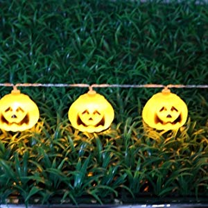 Lightahead 2M 20 LEDS Pumpkin Shape LED String Light with Dual Mode for Halloween Holidays Party Indoor and Outdoors (Warm white)
