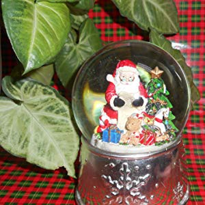 Lightahead Christmas Santa checking his list in Polyresin Snow Globe with falling Snowflake & music